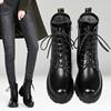 马丁靴女英伦风真皮短靴冬季加绒靴子2018新款百搭粗跟厚底机车靴