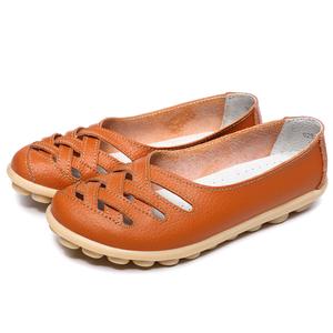 妈妈鞋软底女舒适平底真皮豆豆鞋女镂空凉鞋春夏季防滑奶奶鞋大码