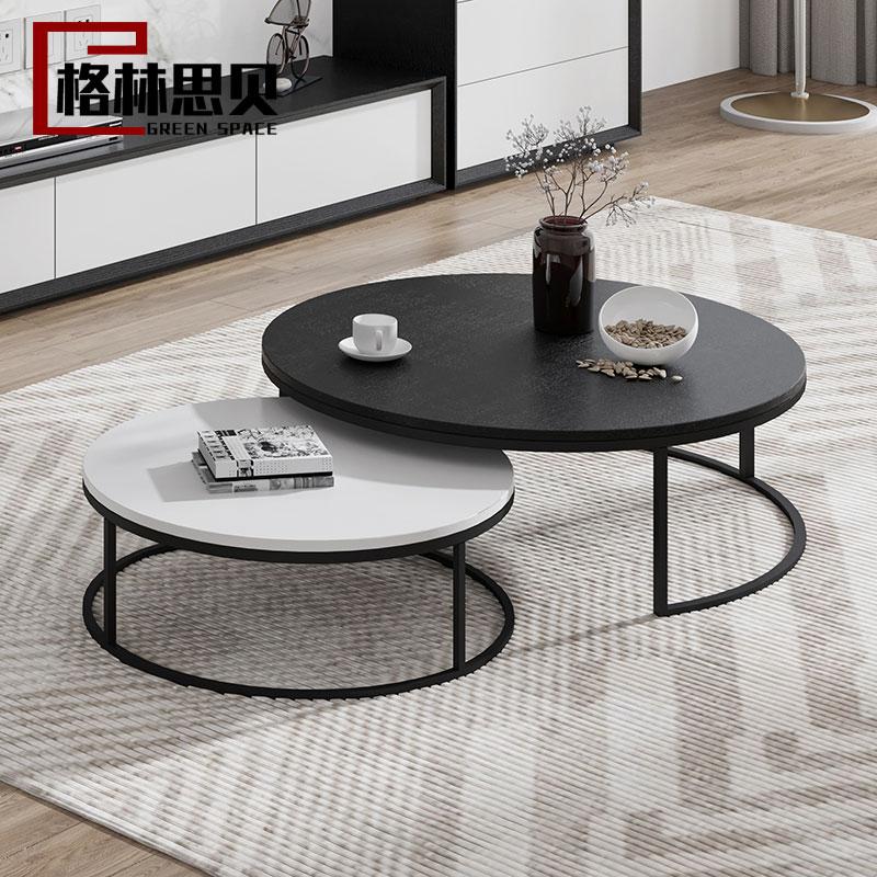 现代简约电视柜茶几组合小户型创意铁艺桌客厅家具北欧时尚圆茶几