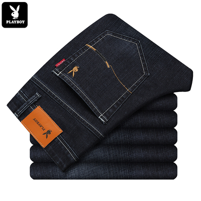 Playboy men's trousers black men's pants spring jeans straight elastic stretch spring and summer models wild young men's clothing