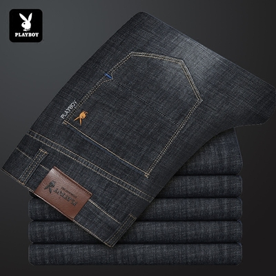 Playboy 2018 spring and summer new spring new denim trousers straight Slim men's men's pants brand leisure