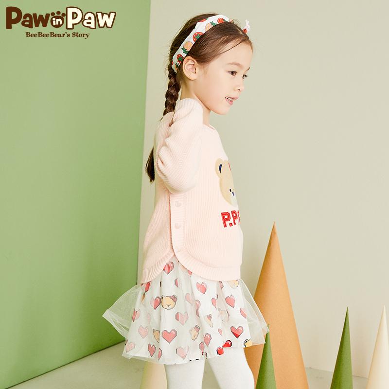 Pawinpaw卡通小熊童装2018年新款秋冬女童两件套裙子中小童网纱裙