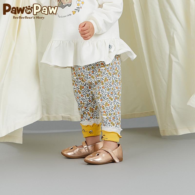 Pawinpaw卡通小熊童装18年新款秋女宝宝裤脚卷边印花长裤可爱风