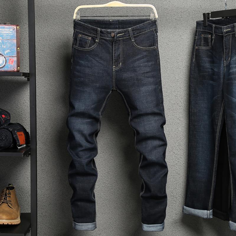 2018新品秋季牛仔裤男士修身弹力黑色裤子男秋冬款宽松直筒长裤潮
