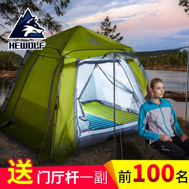 帐篷户外3-4人全自动2双人野外沙滩露营家庭野营二室一厅加厚防雨