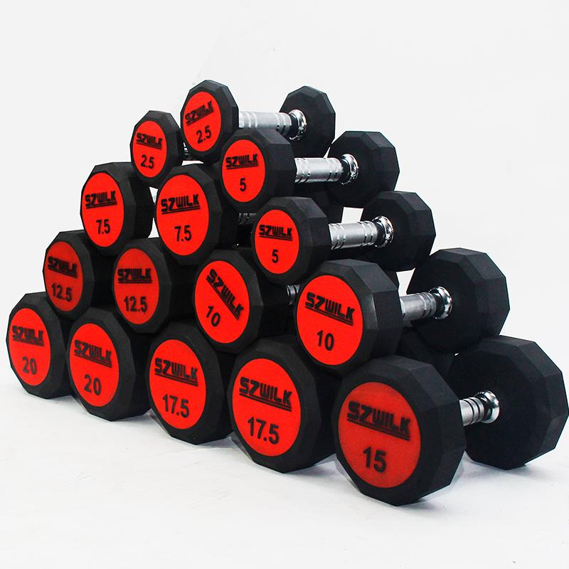 驰尚十角PU哑铃环保无味浸塑哑铃健身器材套哑铃男士家用运动器材