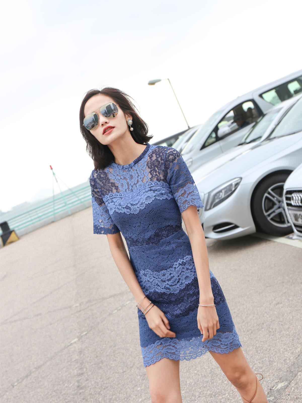 MRG-STUDIO 夏季蓝色水溶蕾丝修身连衣裙女 韩版甜美