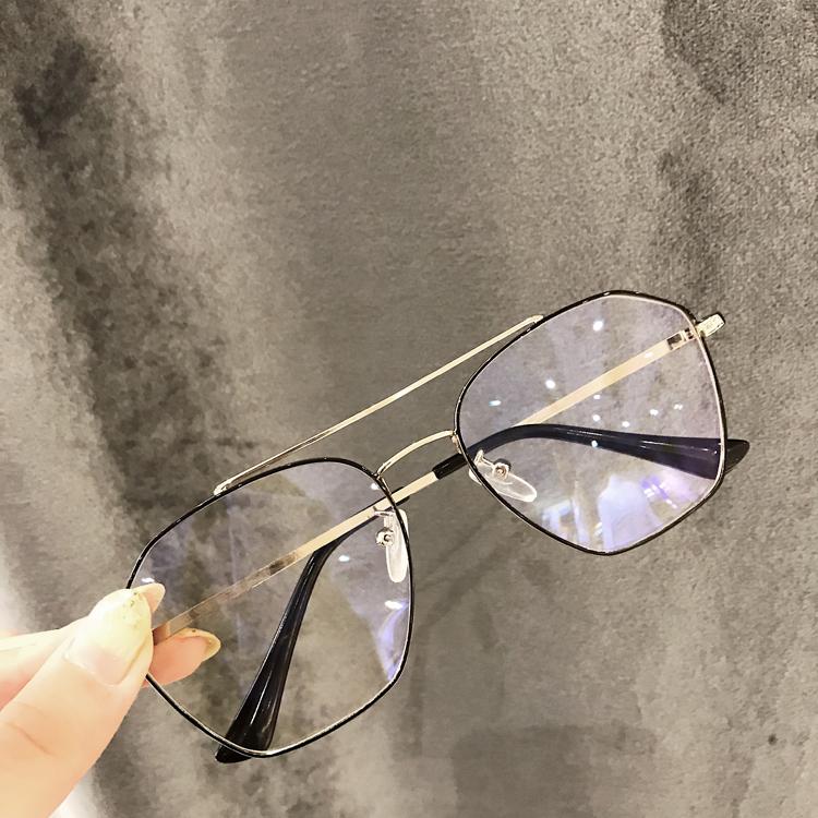 复古多边形防辐射眼镜男防蓝光无度数平光镜女电脑方框配近视眼睛