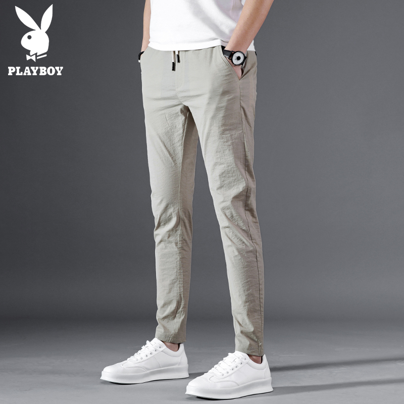 Playboy casual pants men's summer Thin Ice Silk slim feet pants male Korean version of the trend of black trousers