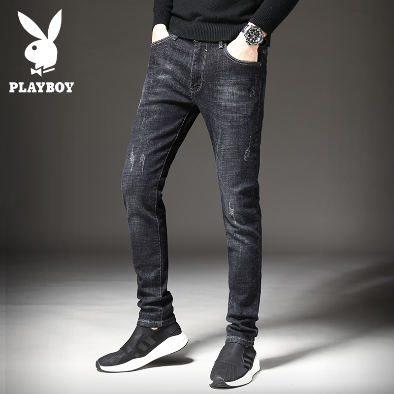 Playboy autumn jeans men slim pants male Korean version of the trend of elastic plus velvet boys black feet pants