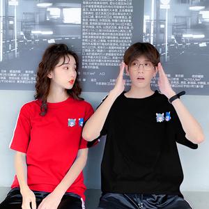 8051#实拍视频 四色纯棉 高品质 短袖T恤学生情侣装