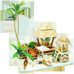 若态3D立体拼图拼装模型木质手工DIY小屋