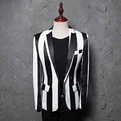 Printed dress men's leisure suit jacket studio host hair stylist stage Zebra Stripe Danxi