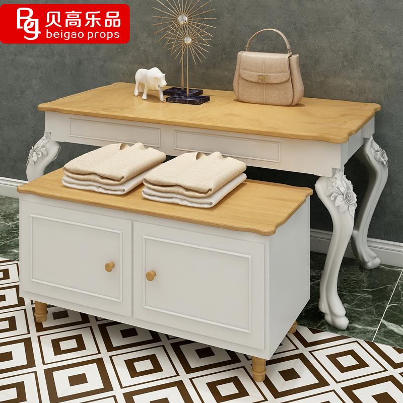 贝高乐品流水台展示台高低桌欧式复古服装展示桌中岛架橱窗展示柜
