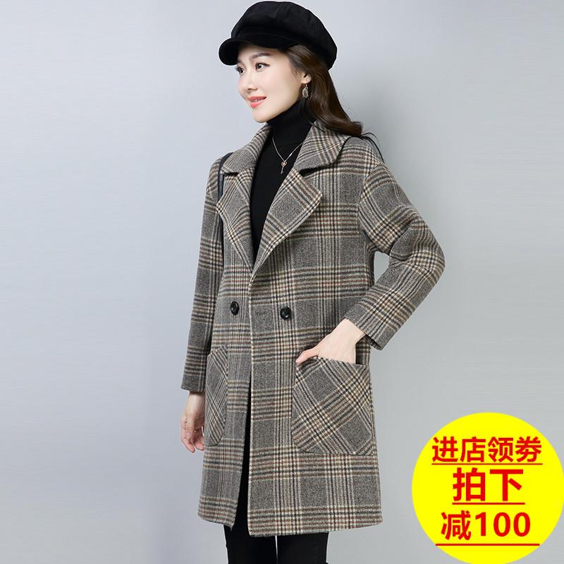 秋冬装2018女装双面呢羊毛大衣女中长款千鸟格子毛呢子无羊绒外套