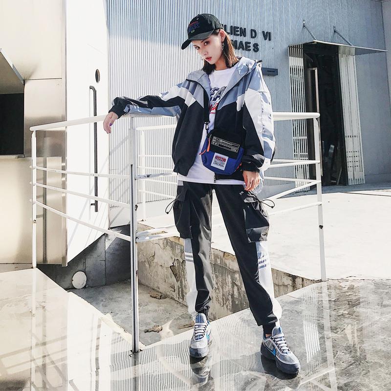 欧洲站早秋街拍两件套女秋季2018新款时尚嘻哈酷帅气bf潮女装套装