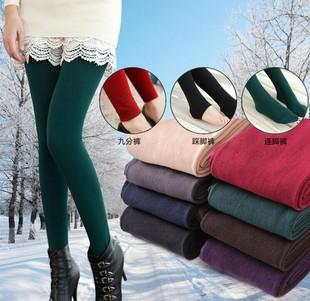 春秋季女韩版踩脚加绒单层九分拉毛拉绒裤打底薄款修身显瘦连裤袜