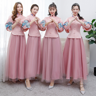 中式伴娘服女2019新款中国风秀禾礼服粉色伴娘团长款姐妹裙姐妹团