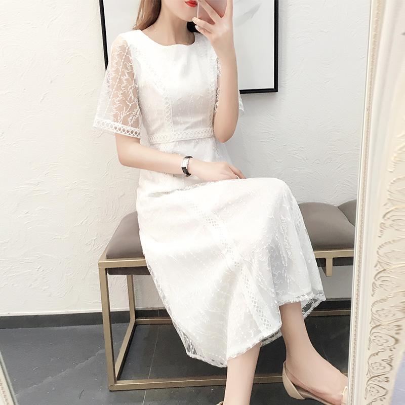 蕾丝裙子夏女2018新款少女心学生冷淡风长裙子白色超仙气质连衣裙
