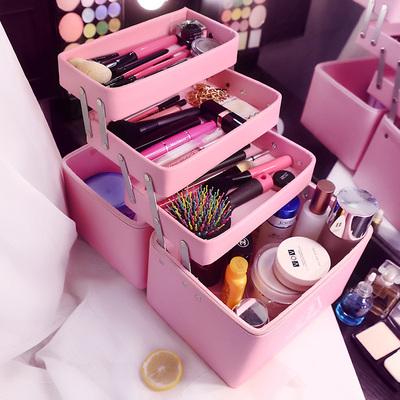 化妆包多功能大号手提化妆箱 大容量多层化妆品收纳箱 专业洗漱包