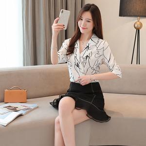 6856#实拍2019夏季新款西服领衬衫宽松韩版设计感小众短...