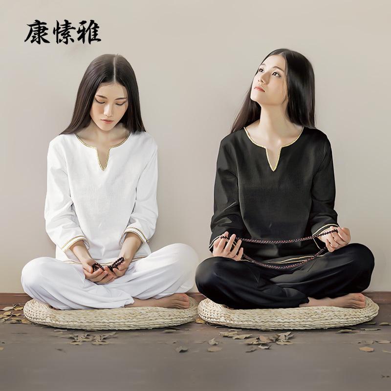 康愫雅瑜伽服套装女宽松棉麻禅修居士服秋季复古中国风两件套禅意