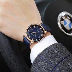 手表男表学生超薄款石英男士手表防水皮带日历韩版简约潮流非机械