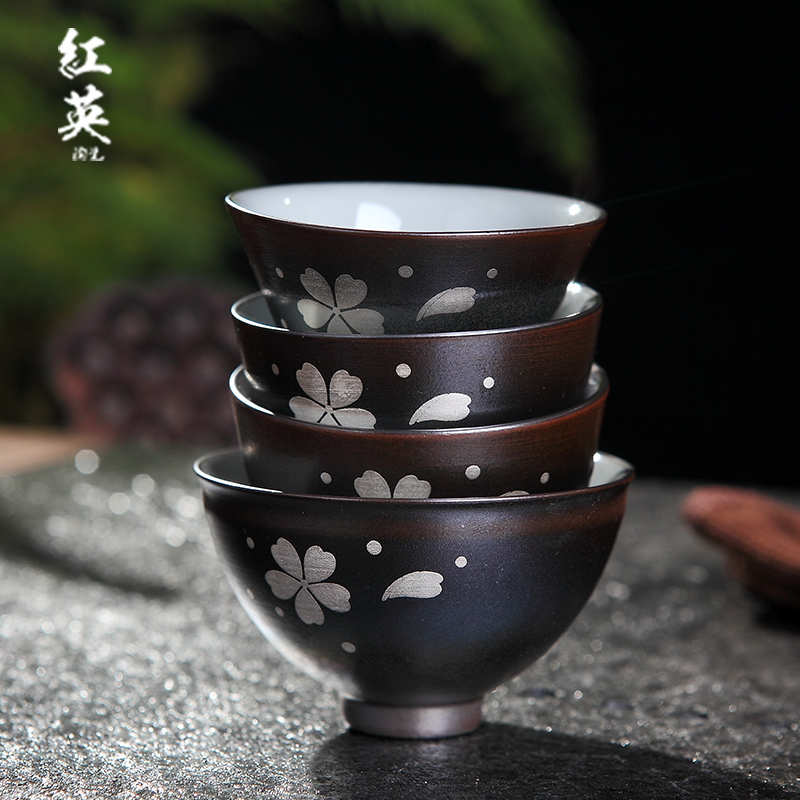 Red the jingdezhen ceramic celadon kung fu tea cups, small home firewood trace silver sample tea cup master cup single CPU