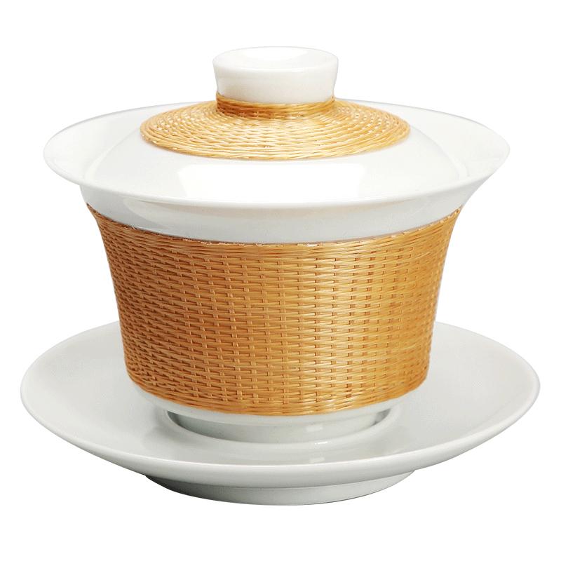 Hongying ceramics jingdezhen porcelain only three household bamboo has by hand make tea bowl of tea tureen kung fu tea cups