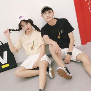 马来西亚新加坡泰国台湾女装情侣装装韩版小鹿绣花短袖t恤潮(单件价格)