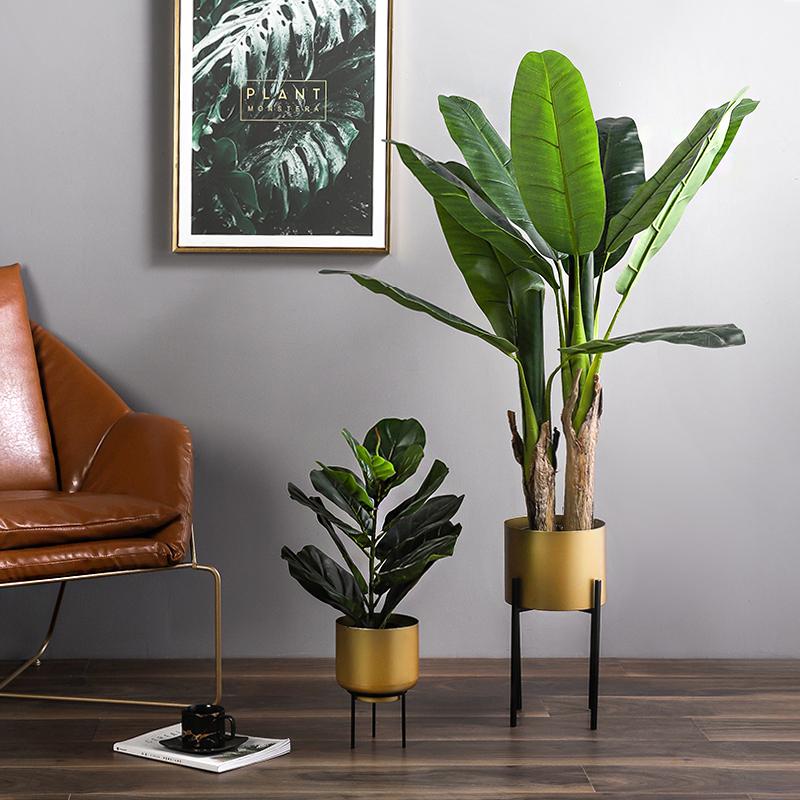 北欧风轻奢铁艺金色大花盆客厅花架创意绿植装饰摆件简约落地花器