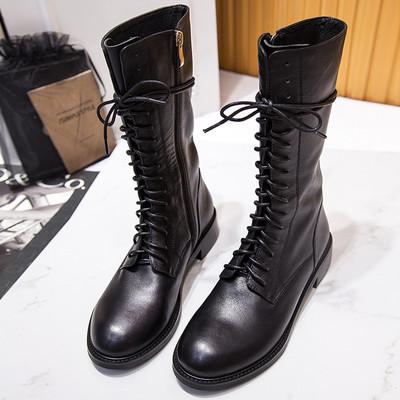 英伦风真皮系带中筒靴平底马丁靴女靴秋冬季短靴机车靴军靴单靴子