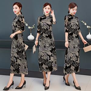 实拍改良版旗袍中国风连衣裙老上海复古民国名媛气质优雅阔太太