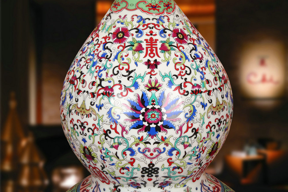 Antique Chinese jingdezhen ceramics colored enamel porcelain live gourd vases, I household crafts