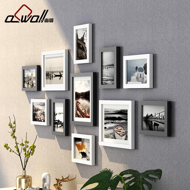 一面墙 木质相框创意挂墙 像框架7寸10寸diy连挂相架照片架子组合