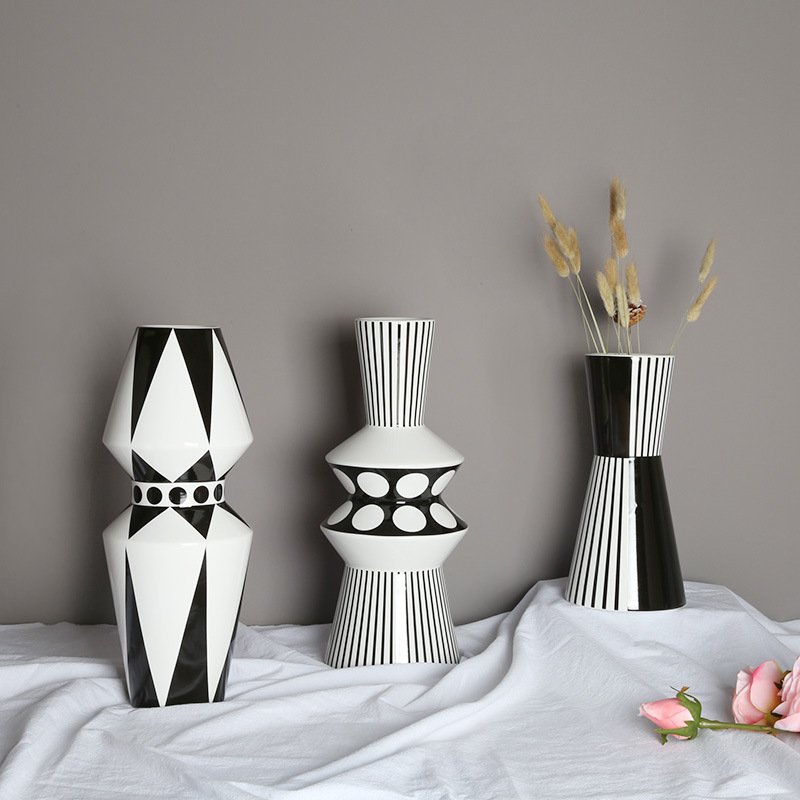 Nordic black white geometrical grain ceramic furnishing articles dried flowers sitting room adornment flowers minimalist designer flower arranging flowers