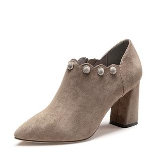 卓诗尼2020年新款粗跟女单鞋