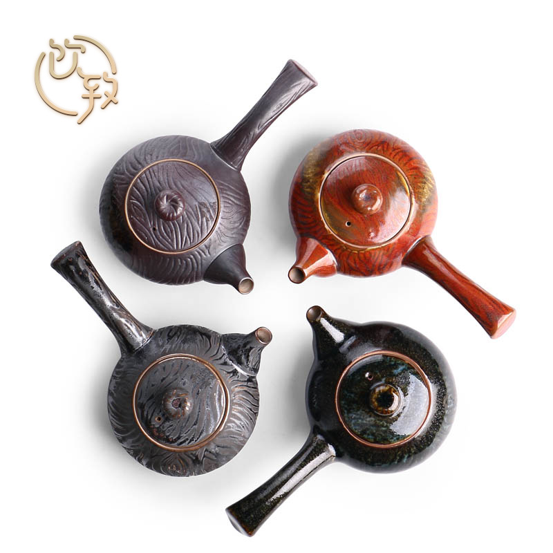 Ultimately responds to coarse pottery teapot Japanese household contracted by hand side put the pot of up ceramic small kung fu tea pot