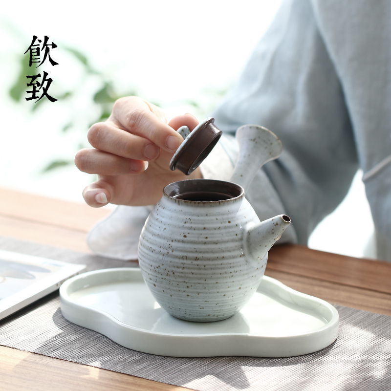 Coarse pottery teapot Japanese side to put the pot of ceramic teapot checking retro mini single pot small kung fu tea set