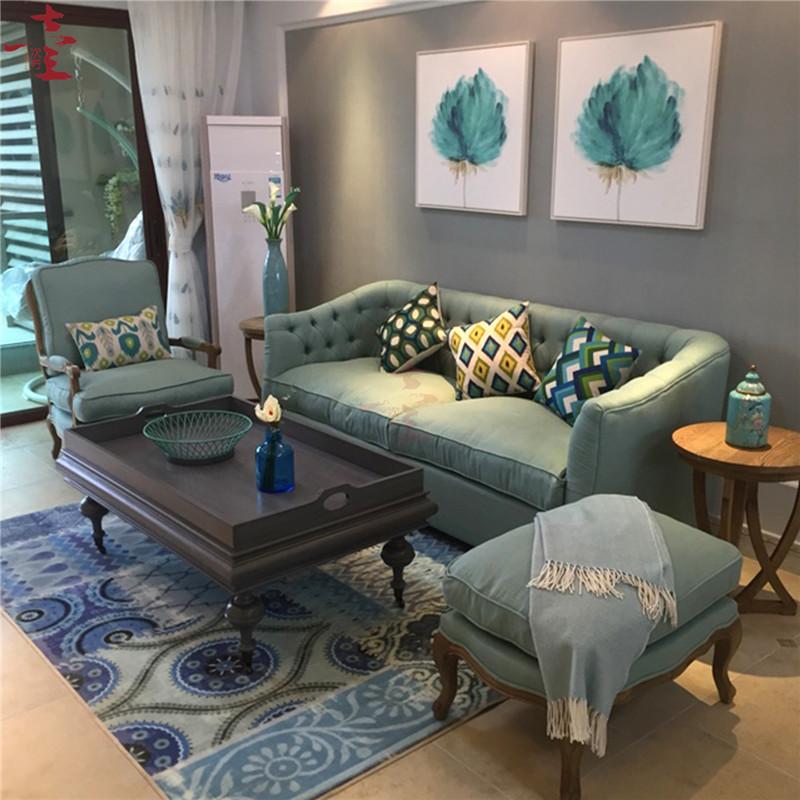 客厅沙发美式沙发布艺沙发组合沙发法式乡村风格沙发三人沙发双人