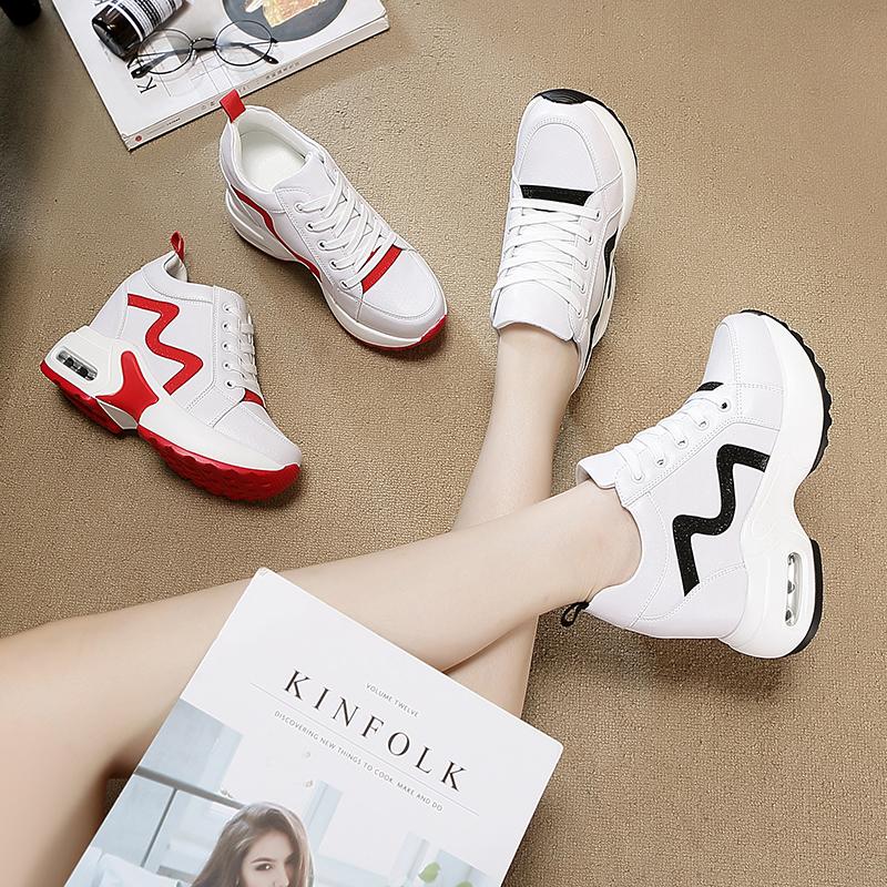 秋季内增高女鞋2018新款韩版小白女运动鞋百搭显瘦休闲鞋旅游厚底
