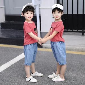 男女童装套装夏季宝宝中小童婴儿小孩子短袖T恤牛仔中裤两件套潮