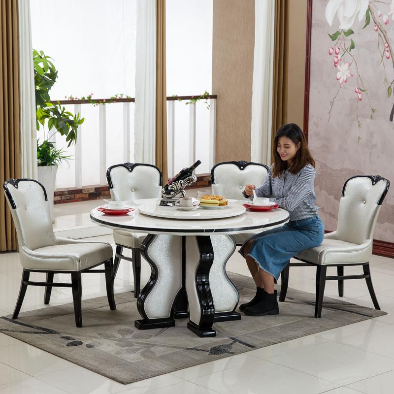 欧式餐桌椅组合现代简约圆餐桌实木6人饭桌小户型大理石餐桌圆桌