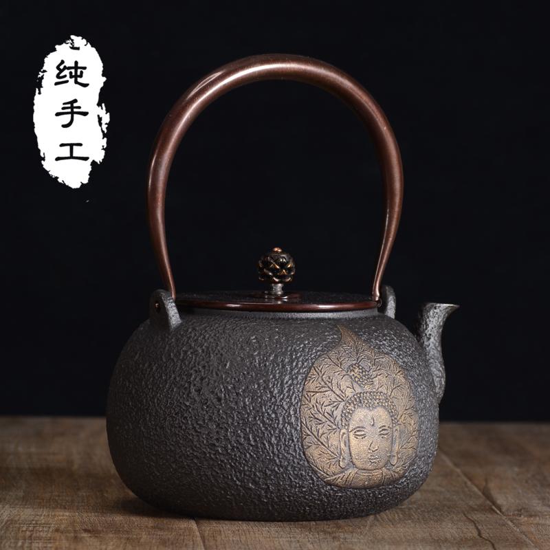铁壶铸铁泡茶壶龟寿堂烧水壶一叶知秋生老铁壶纯手工原装日本进口