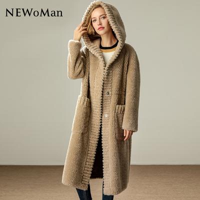 2018新款海宁秋冬皮草外套女中长款皮毛羊剪绒一体大衣女羊毛连帽