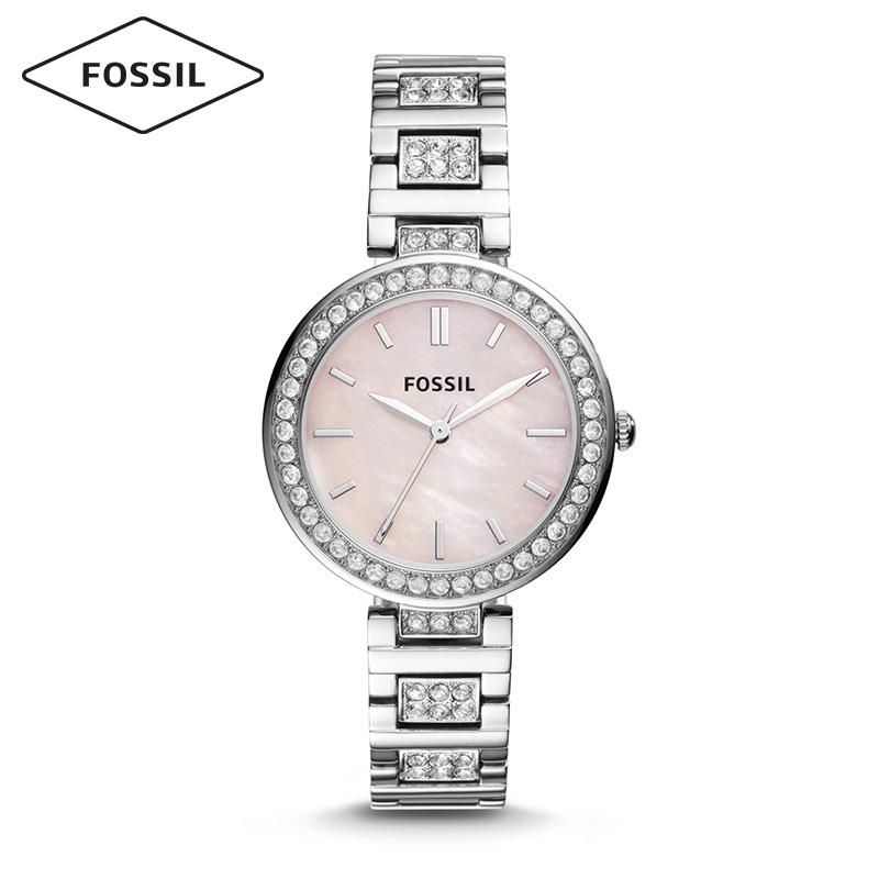 Fossil女表明星杨紫同款手表镶钻贝母表盘钢表带石英手表女BQ3181
