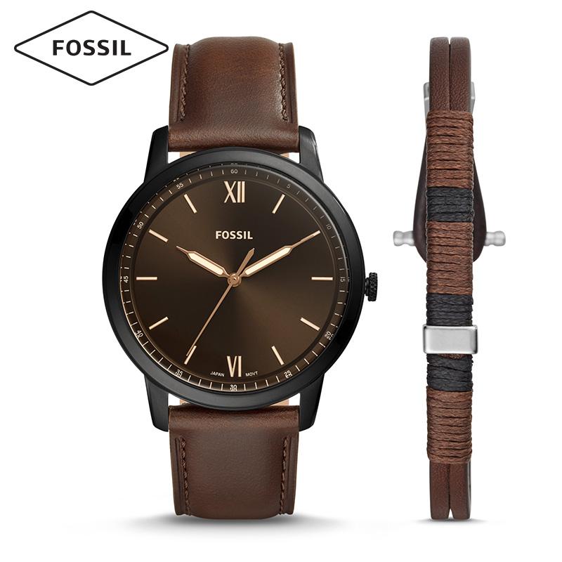 Fossil2019年夏季新款复古文艺风礼盒套装石英男士腕表FS5557SET