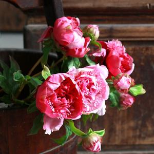 手感保湿水牡丹仿真花 中式芍药绢花假花装饰客厅摆设餐桌花摆花