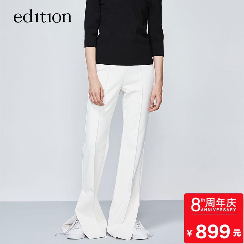 edition微喇休闲裤女秋修身连身高腰开衩长裤EA173PAT115 moco