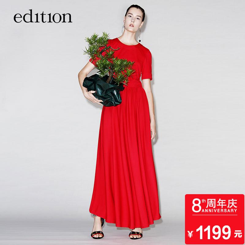 edition短袖露背连衣裙夏U型镂空绑带百褶裙EA172DRS217 moco